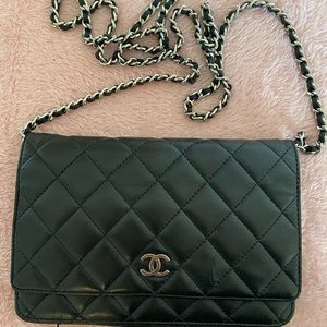 Auth Chanel matelasse lambskin WOC Wallet on Chain